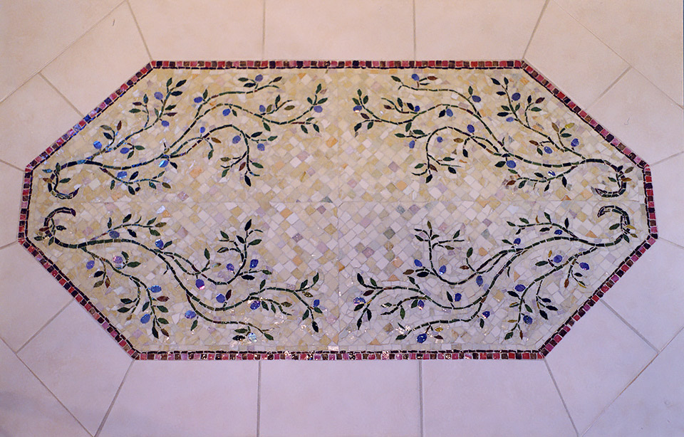 Celia Berry mosaic Master Bath Floor Design